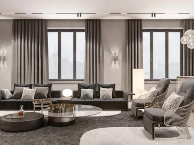 现代别墅优雅客厅家具
